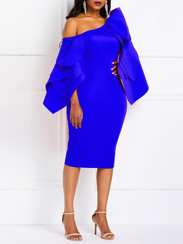 Long Sleeve Split Mid-Calf Plain Bodycon Dress