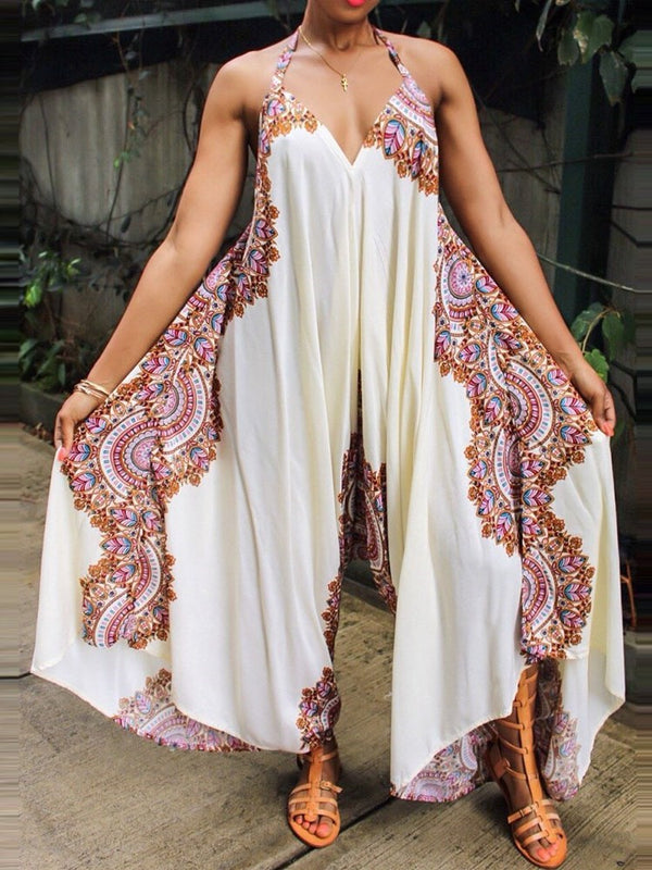 Full Length Print Floral Culottes Loose Jumpsuit