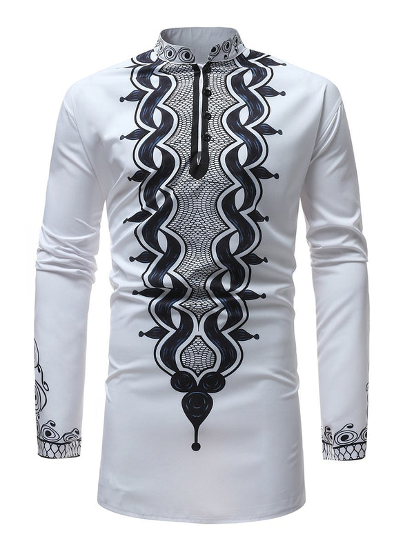 Print Color Block African Ethnic Style Loose Men's Shirts