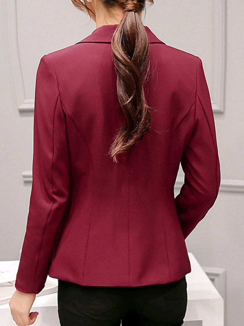 Long Sleeve Notched Lapel One Button Spring Regular Casual Blazers