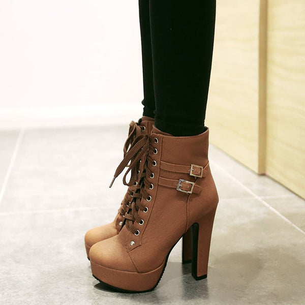 Lace-Up Front Plain Pointed Toe Stiletto Heel Buckle Western Boots