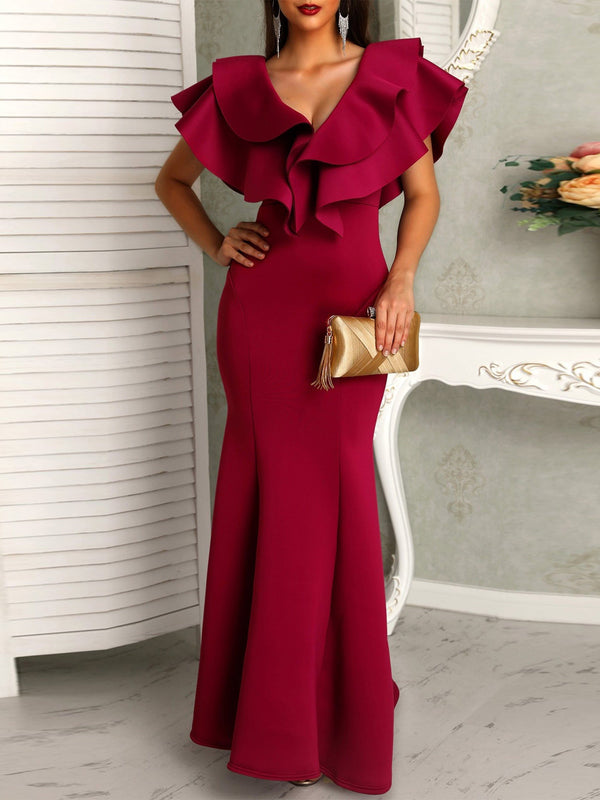 Cap Sleeve Falbala V-Neck Ruffle Sleeve High Waist Maxi Dresses