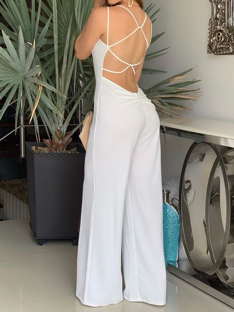 Full Length Plain Sexy Slim Wide Legs Jumpsuit