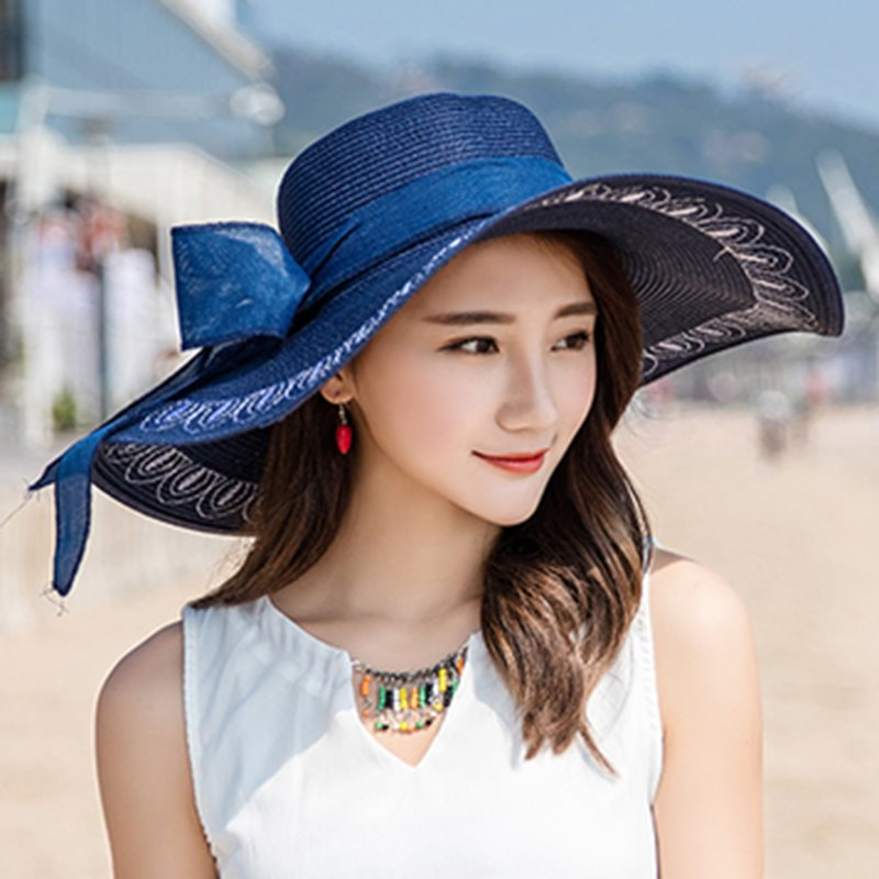Straw Hat Straw Plaited Article Bowknot Plain Hats