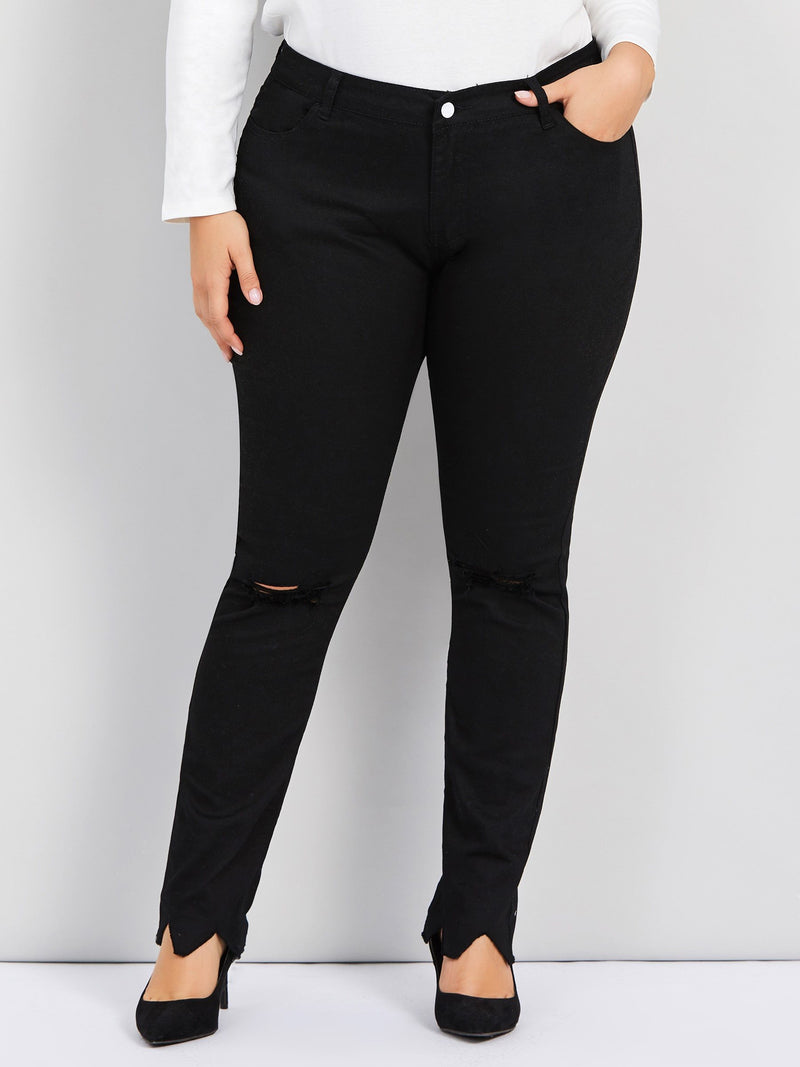 Pencil Pants Plain Hole High Waist Skinny Jeans