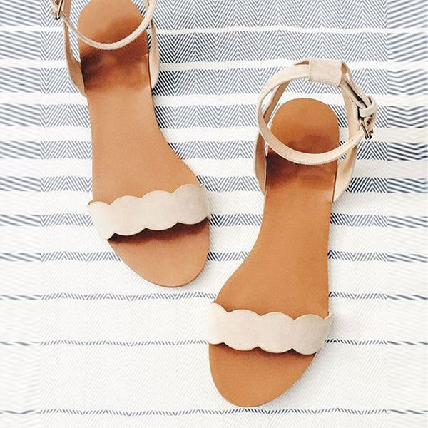 Open Toe Block Heel Line-Style Buckle Ankle Strap Casual Plain Sandals