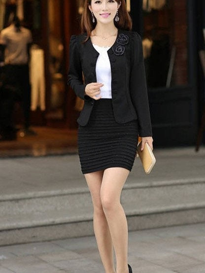Long Sleeve Plain Round Neck Short Regular Casual Blazers