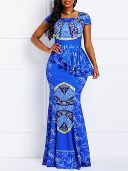 Floor-Length Print Square Neck Mermaid High Waist Maxi Dresses
