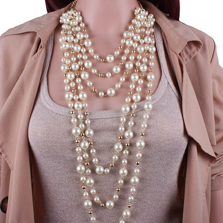 Pearl Inlaid Necklace European Party Jewelry Sets