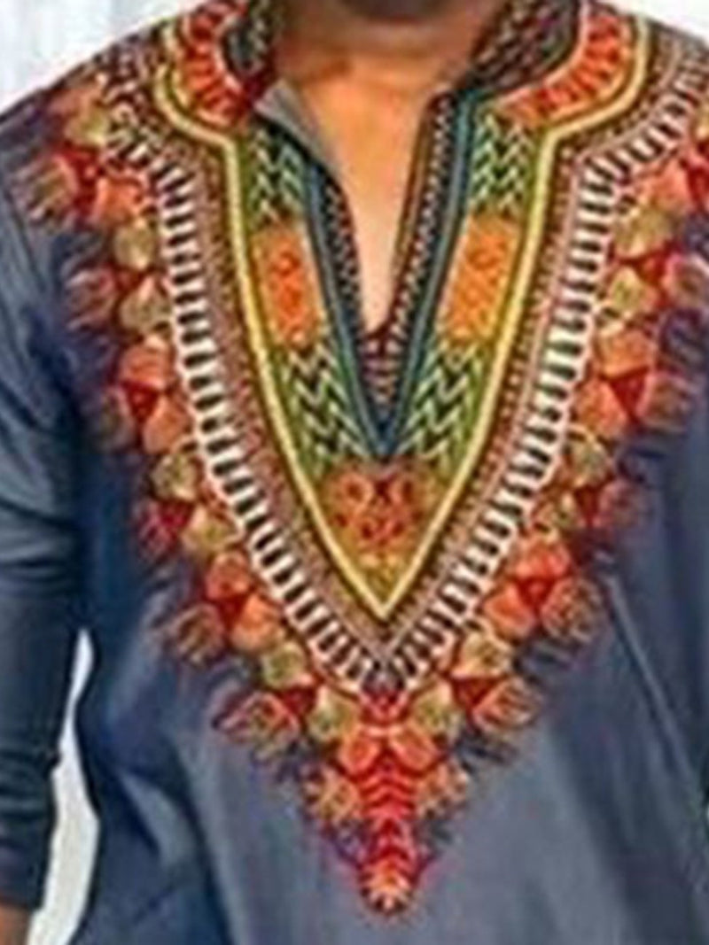 V-Neck Color Block African Ethnic Style Three-Quarter Sleeve Straight Men's Shirts