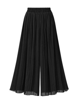 Loose Pleated Plain Wide Legs Ankle Length Casual Pants