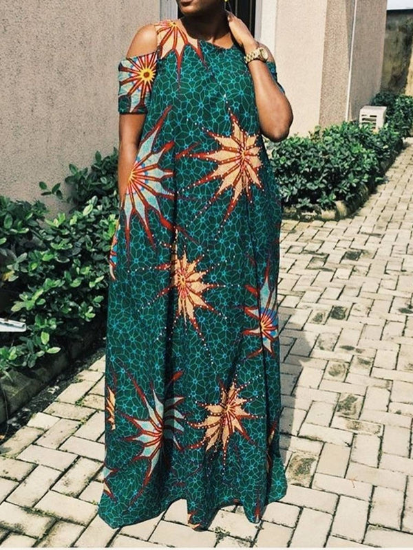 Floor-Length Short Sleeve Print Western Straight Maxi Dresses