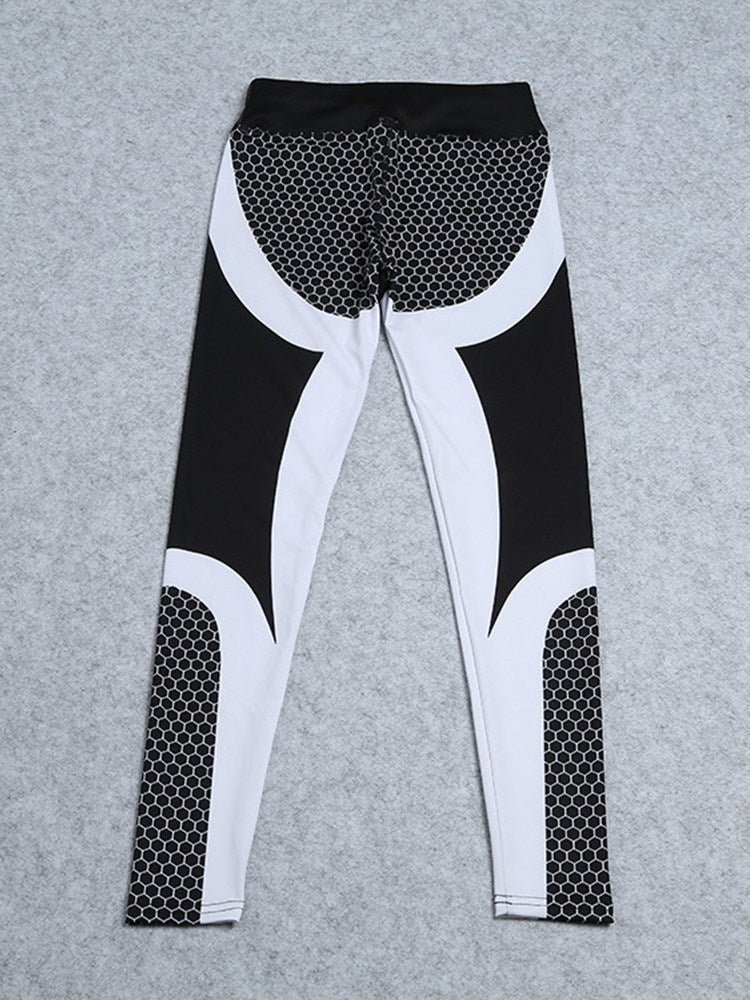 Print Polyester Color Block Yoga Spring Full Length Pants