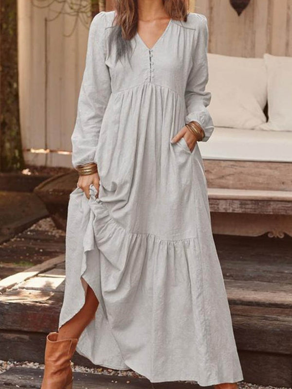 Long Sleeve V-Neck Button Casual A-Line Maxi Dress