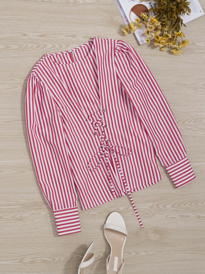 Lace-Up Round Neck Stripe Standard Long Sleeve Blouse