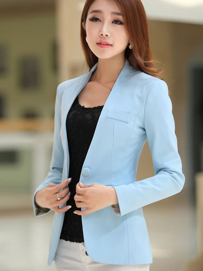 V-Neck One Button Plain Short Regular Casual Blazers