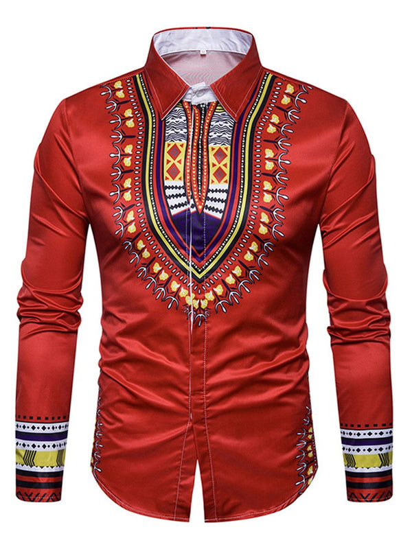 Print Lapel Color Block Single-Breasted Slim Men's Shirts