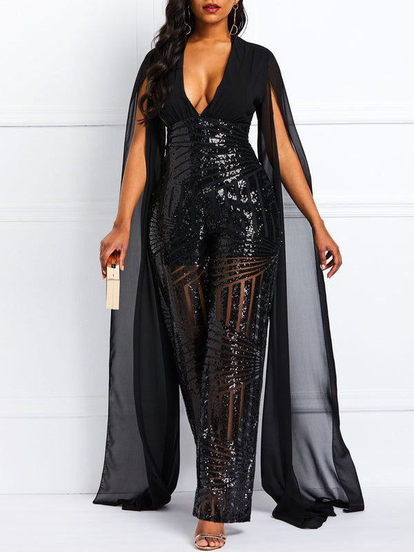 Sequins Full Length Plain Loose Wide Legs Jumpsuit