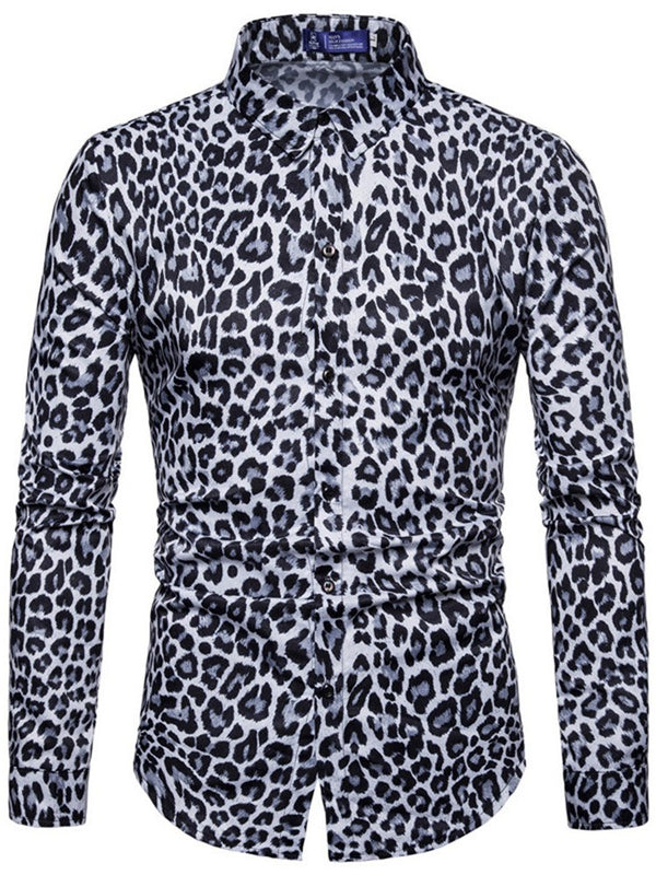 Print Leopard Lapel Winter Slim Men's Shirts