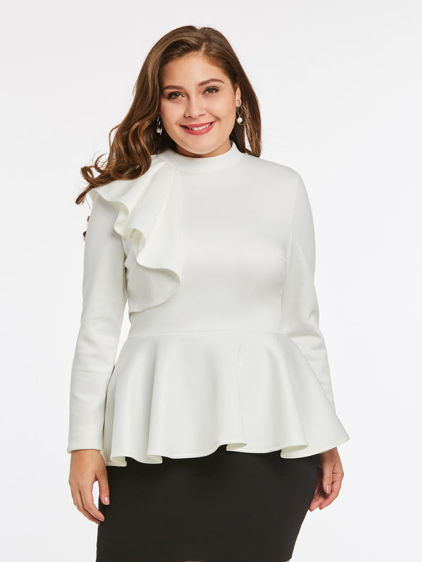Slim Zipper Long Sleeve Standard Round Neck Blouses