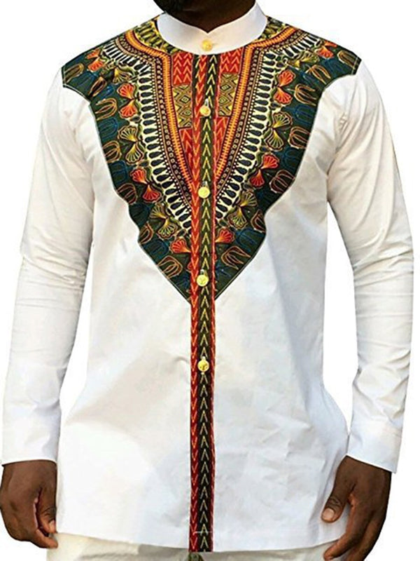 Print Stand Collar African Ethnic Style Fall Single-Breasted Men's T-Shirts