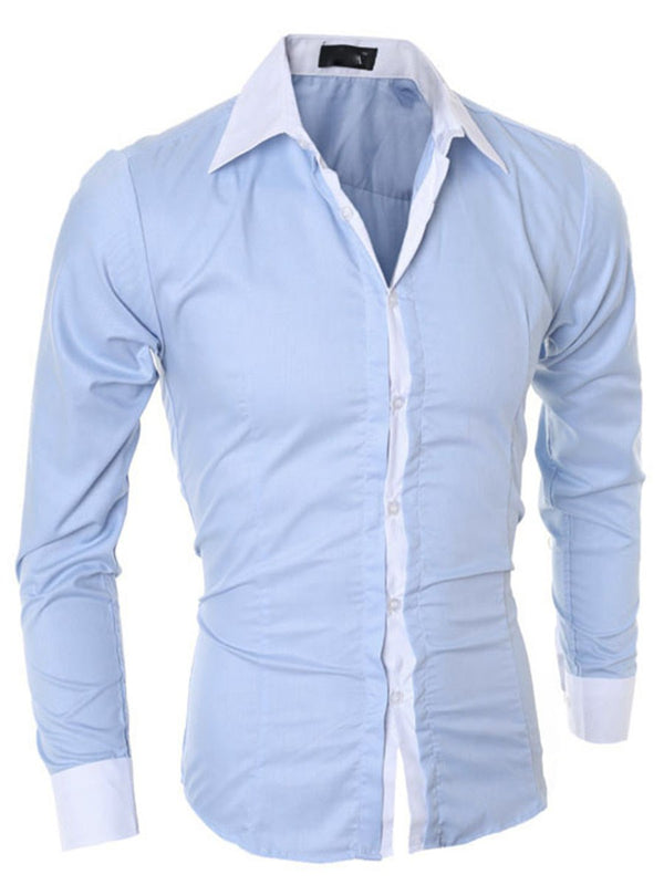 Simple Lapel Plain Slim Single-Breasted Men's Shirts