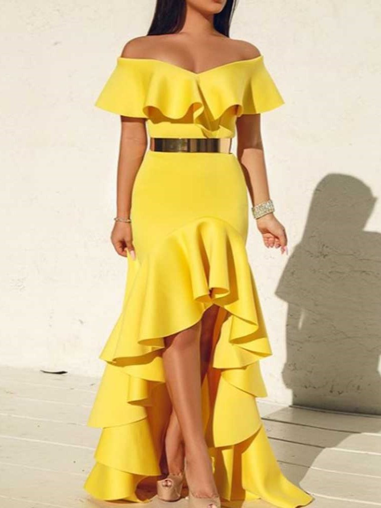 Short Sleeve Floor-Length Off Shoulder Off-The-Shoulder High Waist Dress