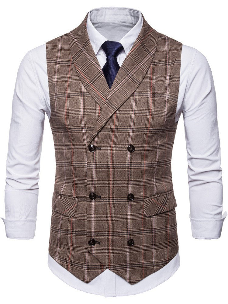 Print Plaid Lapel Winter Double-Breasted Waistcoat Men's Blazers