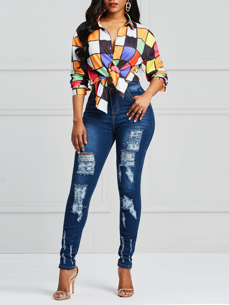 Lapel Plaid Print Mid-Length Long Sleeve Blouses