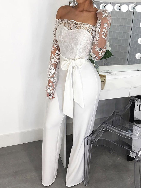 Full Length Plain Lace-Up High Waist Slim Jumpsuit