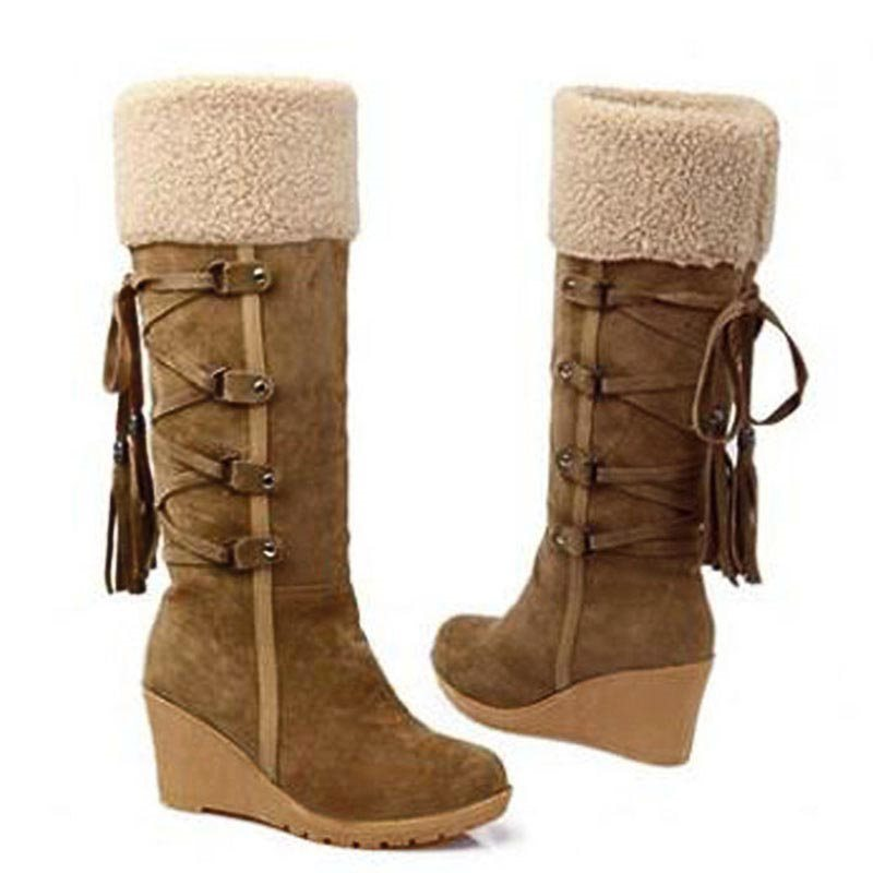 Round Toe Wedge Heel Plain Slip-On Casual Short Floss Boots