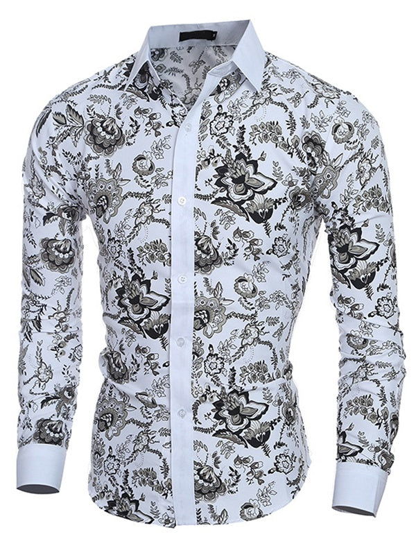 Stand Collar Floral Print Slim Single-Breasted Men's Shirts