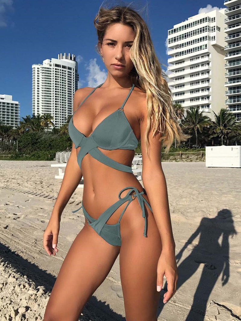 Plain Bikini Set Patchwork Swimwear