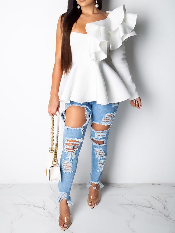 Falbala Plain Mid-Length Long Sleeve Blouses