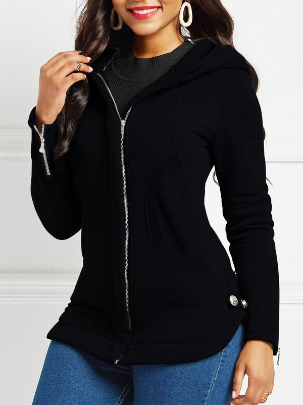 Zipper Slim Long Sleeve Hooded Mid-Length Coats
