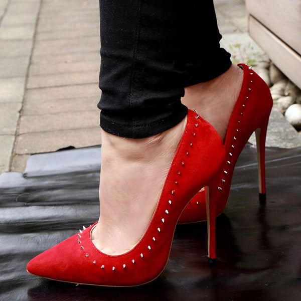 Rhinestone Slip-On Stiletto Heel Pointed Toe Plain Professional Thin Shoes