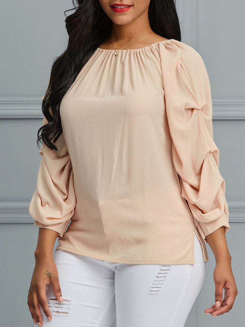 Plain Patchwork Puff Sleeve Three-Quarter Sleeve Mid-Length Blouses