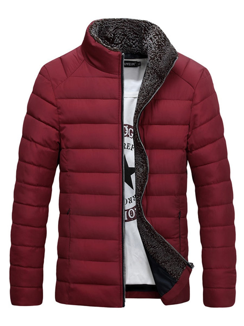 Stand Collar Standard Plain Zipper Down Jacket