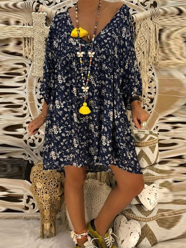 Above Knee Print V-Neck Pullover Floral Casual Dress