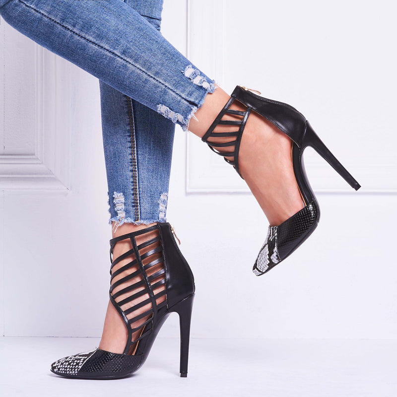 Pointed Toe Stiletto Heel Hollow Zipper Low-Cut Upper Casual Thin Pumps