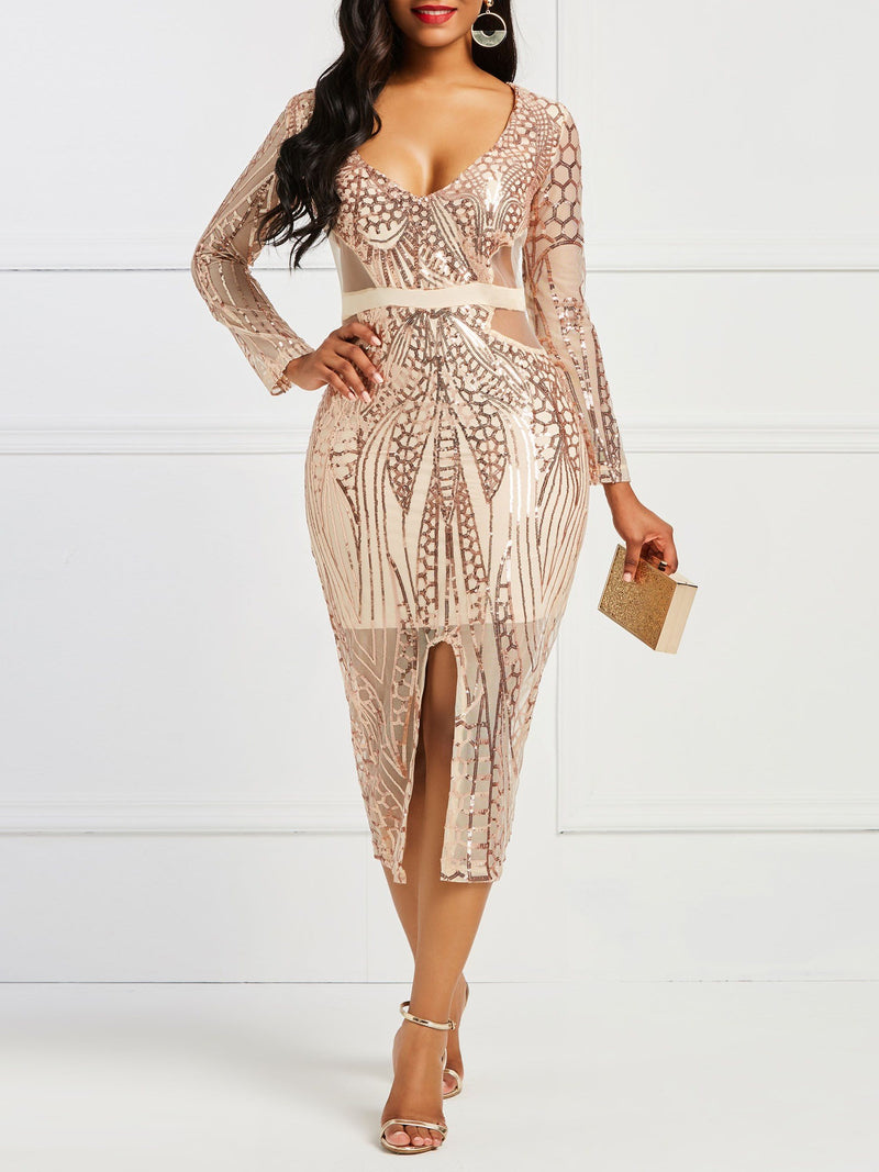 Sequins Long Sleeve Mid-Calf Mid Waist Pullover Bodycon Dresses