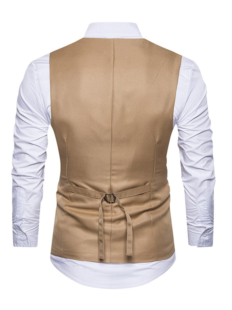 Print Plain V-Neck Single-Breasted Fall Waistcoat Men's Blazers