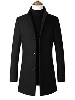 Stand Collar Plain Mid-Length Slim Casual Trench Coats
