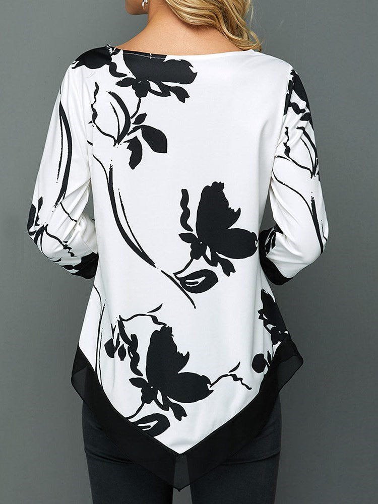 Erchic Three-Quarter Sleeve Plant Mid-Length Slim T-Shirt