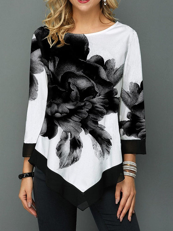 Erchic Round Neck Color Block Print Mid-Length Three-Quarter Sleeve Blouse