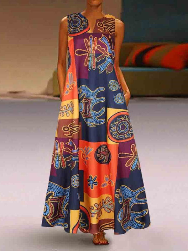 Ankle-Length V-Neck Print Summer Travel Look Dress