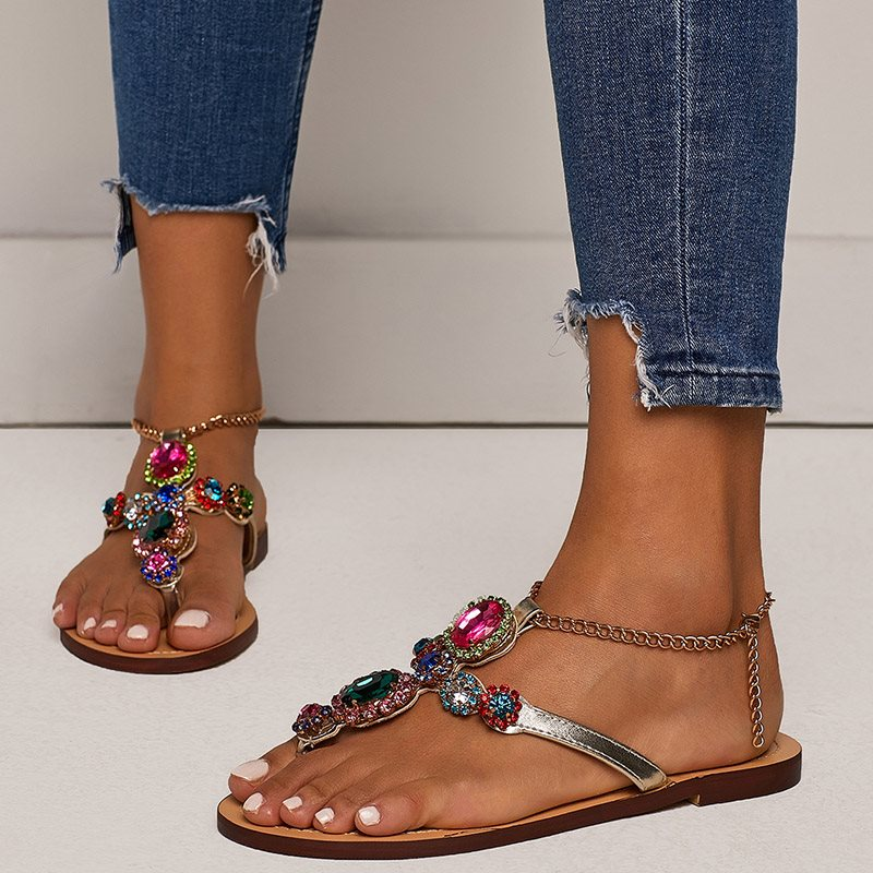 Thong Block Heel Buckle Low-Cut Upper Casual Sandals