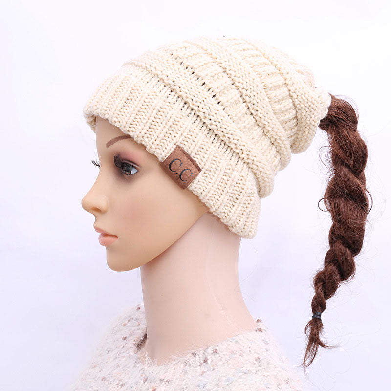 840424dc50239 Soft Knit Ponytail Beanie Winter Hats for Women Messy Bun Cap Knitted –  AICVLGR Apparel