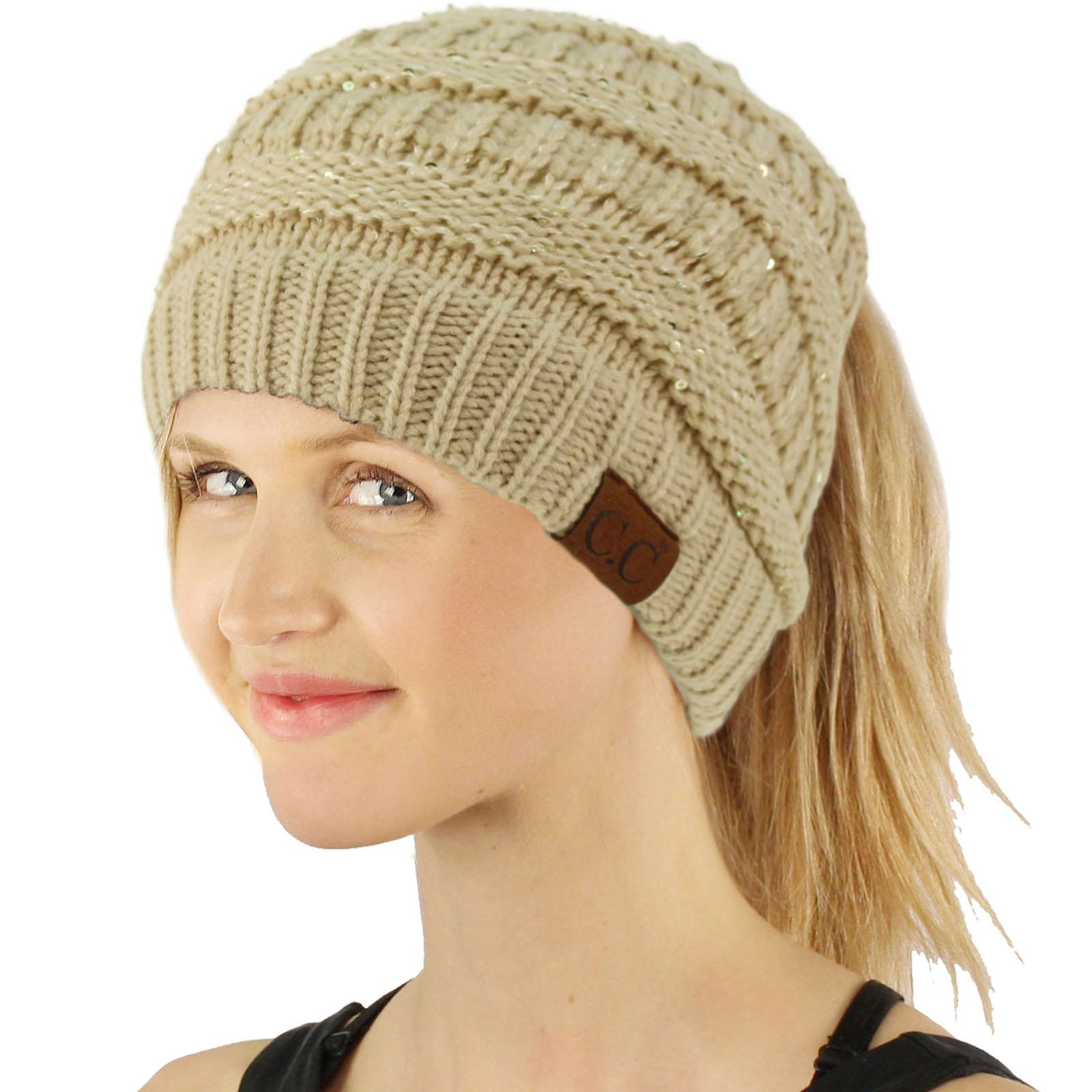 f9aa610c8d2 Soft Knit Ponytail Beanie Winter Hats for Women Messy Bun Cap Knitted –  AICVLGR Apparel