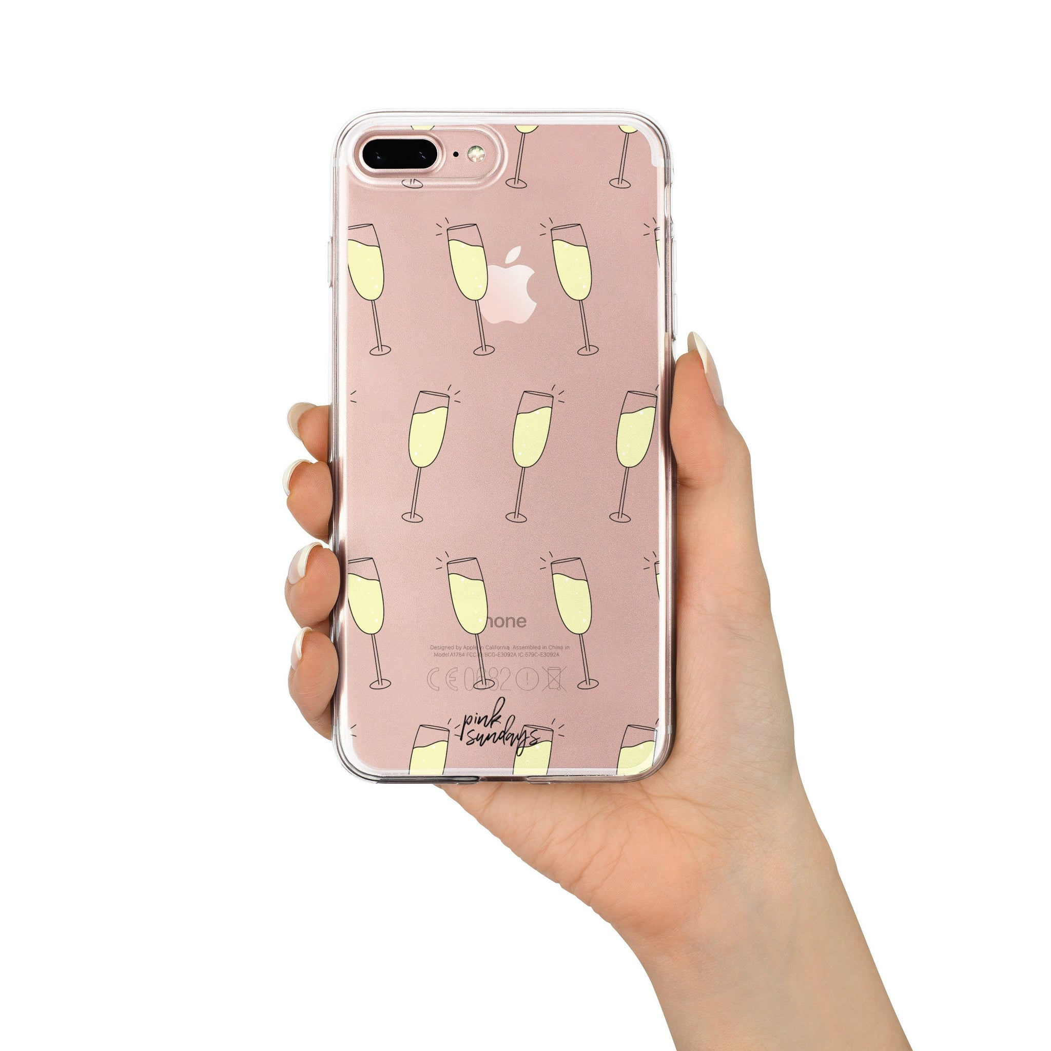 Champagne glasses pattern, clear iphone case, champagne, pattern phone case, champagne iphone case, cute phone cases, see through, gift